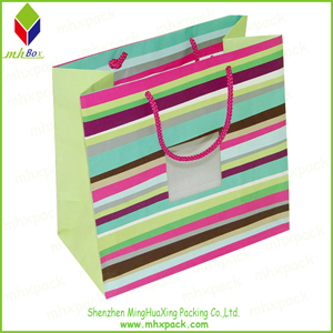 Strong Colorful Striped Printing Paper Carry Bag