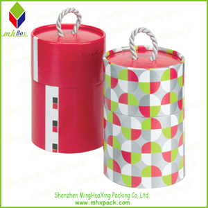Candle packing Gift Round Box with Handle