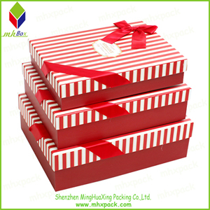 Promotional Red Striped Paper Packing Box for Shirt